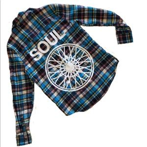 Tops - Soul Cycle Blue Flannel Yoga Spin Festival Shirt